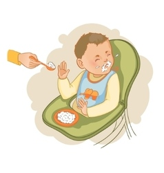 Baby boy in the baby chair refuses to eat pap vector image vector image