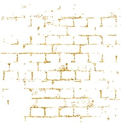 Brick wall gold texture pattern white vector image