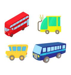 bus icon set cartoon style vector image vector image