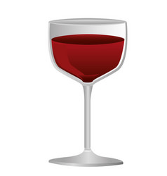 colorful silhouette of glass cup with red wine vector image
