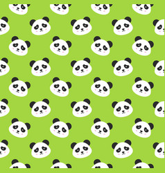happy panda faces seamless pattern vector image vector image