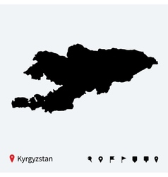High detailed map of Kyrgyzstan with navigation vector image