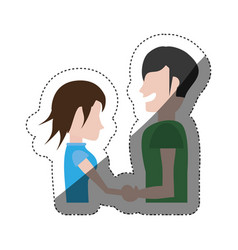 man and woman relation happy shadow vector image