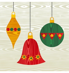 Christmas wooden decorations vector image vector image