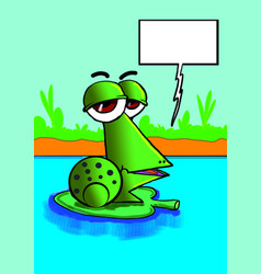 funny green frog speaking vector image