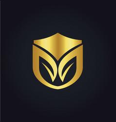 organic shield gold logo vector image vector image