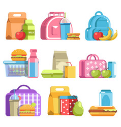 school lunch and meal boxes containers and vector image