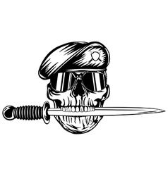 Skull in beret with dagger vector image