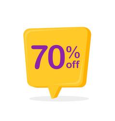 70 percent off speech bubble sticker vector image