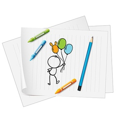 A paper with a drawing of a pencil crayons and a vector image