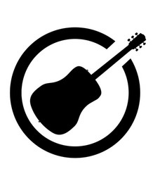 Acoustic guitar black ink stamp vector