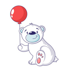 Bear with air ballon icon cartoon style vector
