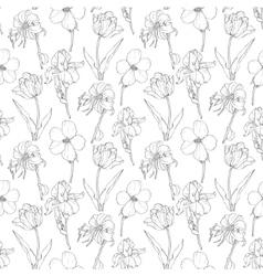 Black Vintage Garden Flowers On White vector image