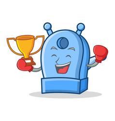 Boxing winner pencil sharpener character cartoon vector