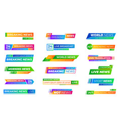 breaking news bars text frames bar banners vector image