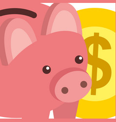 business bank piggy and dollar coin money vector image