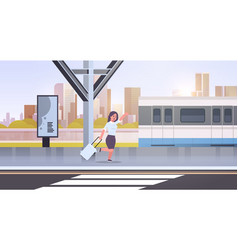 businesswoman running to catch train business vector image