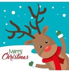 Card reindeer cheerful merry christmas vector