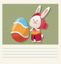 cartoon happy easter cute girl bunny egg vector image