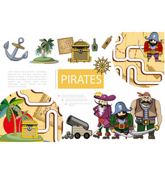cartoon pirates adventure composition vector image