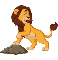 cartoon smiling lion posing vector image