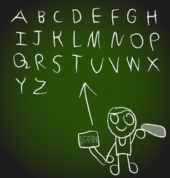 Chalk hand drawing alphabet design vector image