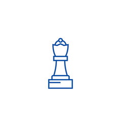 chess queen line icon concept chess queen flat vector image