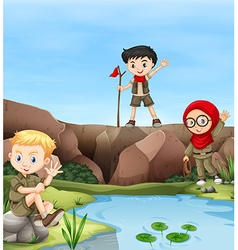 Children camping out by the river vector image