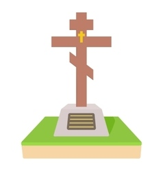Christian grave icon cartoon style vector