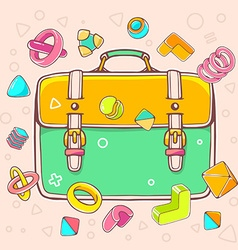Colorful yellow and green backpack on whi vector