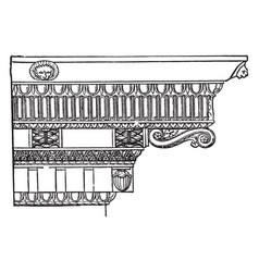 Corinthian cornice distinguished from the ionic vector