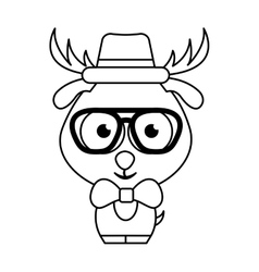 cute deer character hipster style vector image