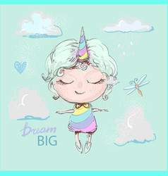 Cute unicorn girl cartoon in rainbow dress flying vector