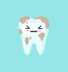 Dirty spoted tooth with emotional face cute vector