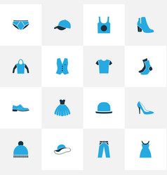 Dress colorful icons set collection of underwear vector