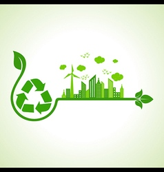 Ecology concept with recycle icon vector