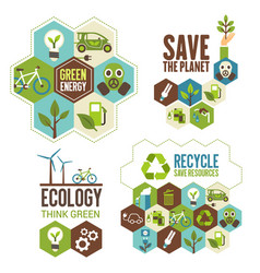 Ecology protection green energy and recycle icon vector