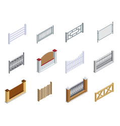 fence metal brick wooden isometric icons set vector image