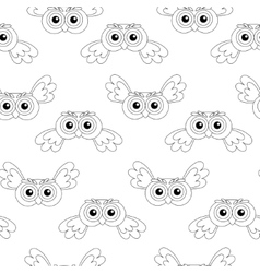 Flying owl seamless pattern vector