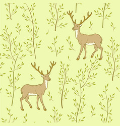 Forest wallpaper with deer vector