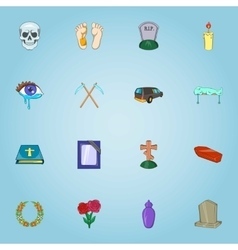 Funeral services icons set cartoon style vector image