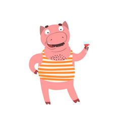 Funny male pig standing and holding glass of wine vector