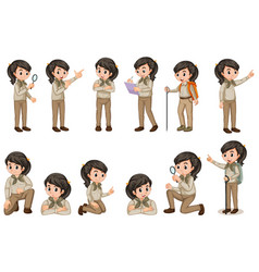 Girl in scout uniform in many poses on white vector
