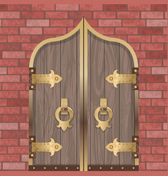 gold castle gate vector image