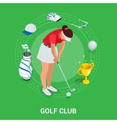Golf club concept Isometric golfer and apparel vector