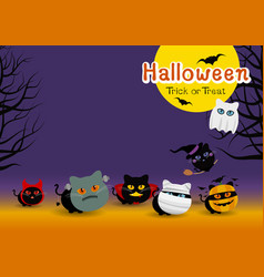halloween cats costume banner design vector image