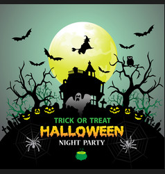 halloween night party green holiday festival vector image
