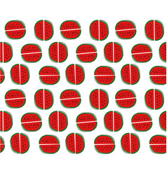 hand drawn watermelon cartoon pattern seamless vector image