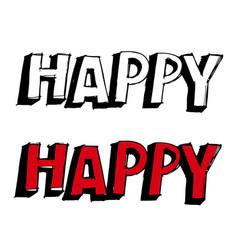 happy hand drawn vector image