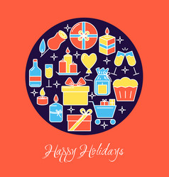 happy holidays round concept banner in colored vector image
